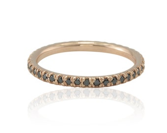 Black Diamond Wedding Band - Eternity Ring with Prong set Black Diamonds in 14k Rose Gold - LS4448