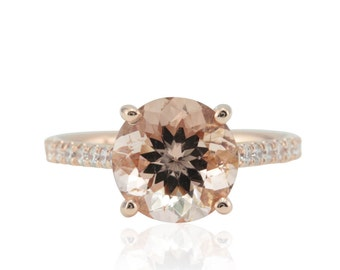 Morganite Engagement Ring - 9mm Round Morganite Solitaire with 3/4 Eternity Diamond Shank in 14k Rose Gold - Eleanor Collection - LS4768