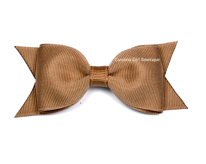"Taupe Tuxedo Bow  ~ 3.5"" Hairbow ~ Small Hair Bow ~ Girls Barrette ~ Toddler Bow ~ Baby Hair Bow ~ Hair Clip ~ Girls Hair Bow"