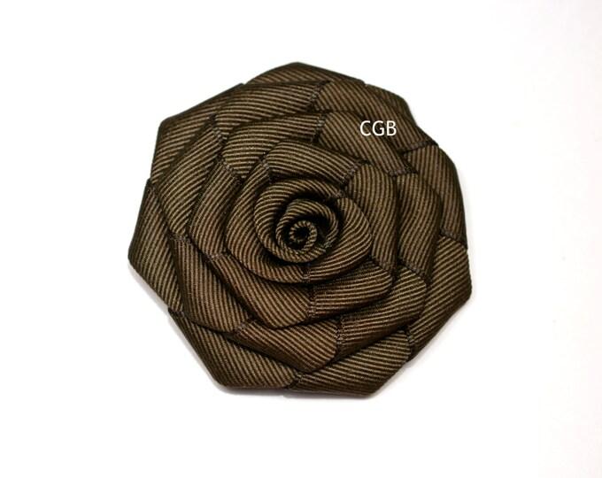 Brown Rosette  Ribbon Flower Hair Clip Basic Alligator Clip Non Slip Barrettes for Babies Toddler Girl