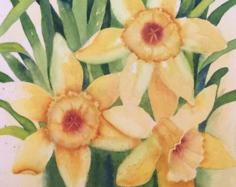 Painting of Daffodils-Watercolor Painting of a Yellow Flowers-Floral-Flower Painting