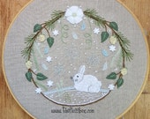 Winter Wreath Crewel Embroidery Pattern and Kit