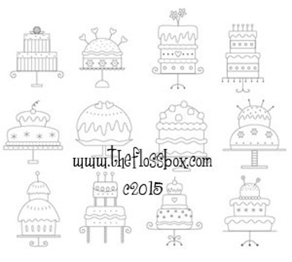 Cakes Collection 3 Hand Embroidery Patterns
