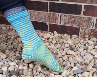 Mermaid Lagoon Gradient Stripes Matching Socks Set, 2-50g Cakes, Greatest of Ease (dyed to order)