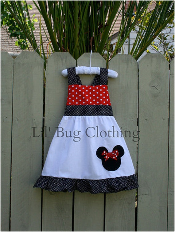 Custom Boutique Clothing Minnie Mouse Red and Black Dots Jumper Dress