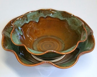 Green and Amber Wheel Thrown Pottery Bowls - Scalloped Bowls - Nesting Bowls