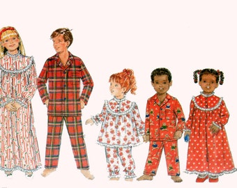 OOP Girls/Boys Pajamas Pants and Top Christmas Nightgown Pajamas Butterick 4222 Size 7-10 UNCUT