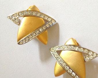 Star Earrings BIG Geometric Clip On Earrings Vintage 80s Gold Earrings