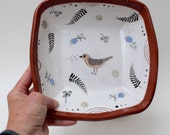 chirp salad bowl, handpainted/sgraffito one of a kind by crowfootstudio FREE SHIPPING
