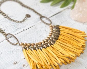 Fringe Bib Necklace, Chunky Necklace, Mustard Yellow Necklace, Statement Bib Necklace, Tassel Necklace, Beaded Necklace