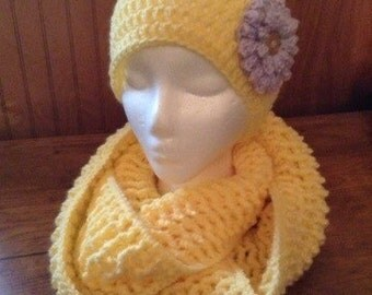 Yellow crochet beanie hat and yellow infinity scarf