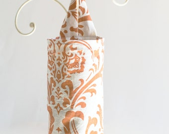 Plastic Grocery Bag Holder Orange and Cream Flourish Fabric