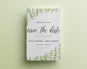 Ivy Leaf Branches Wedding Save The Date - Custom DIY Printable