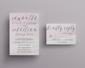 Romantic Calligraphy Watercolor Wedding Invitation - Custom DIY Printable