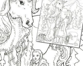 Bearing Gifts Unicorn Holiday Digi Stamp Digital Coloring Page for adults - for scrapbooking or gift cards or coloring