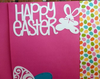 Easter Scrapbook 12x12 Two Page Layout Chick and Eggs Paper Pieced Spring Brights