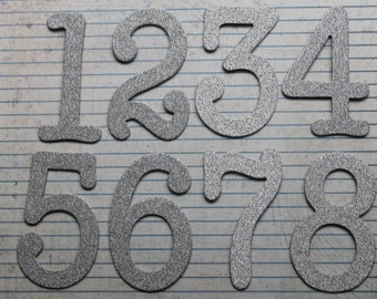 Numbers 1-12  3 inch tall fine SILVER glittered paper over chipboard diecuts great for wedding table numbers