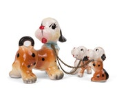 Vintage Puppy Dog Figurine with Chained Babies 1950's Japan