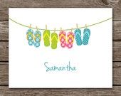 Flip Flop Note Cards - Notecards - Card - Beach - Sandals - Pool - Summer - Personalized - Set of 8