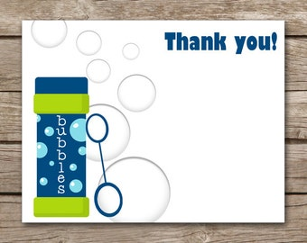 Bubbles Thank You Cards, Bubbles Party Thank You, Bubbles Birthday Thank You, INSTANT DOWNLOAD