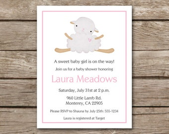 Lamb Shower Invitation, Lamb Baby Shower, Sheep Invitation, Sheep Baby Shower, Baby Lamb Invitation, PRINTABLE