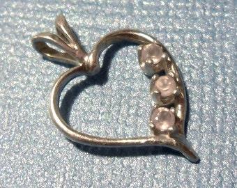 Three Rose Quartz Heart Silver Pendant - Gift