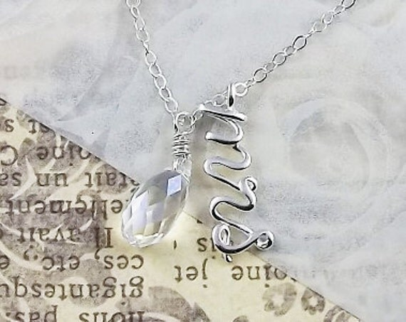 Mrs Necklace Calligraphy Script Pendant & Chain Sterling Silver Swarovski Crystal Briolette with Chain Wedding Jewelry