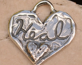 Let Love Heal Your Heart, Sterling Silver Heart Charm, 356d