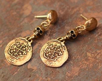 Spanish Coin Earrings, Old World Style Bronze Earrings with Skulls