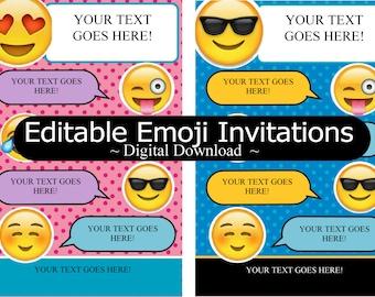 Editable Emoji Invitation Pink or Blue