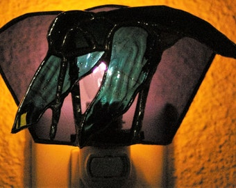 Stained Glass Night Light of a Ruby Throated Hummingbird