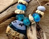 HOBE SOUND BEACH - Handmade Lampwork Bead Set - Earring Pairs - 11 Beads