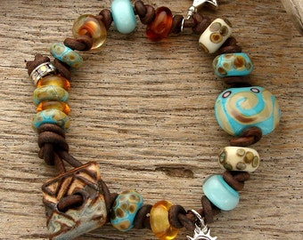 HIDDEN TRAIL - Handmade Lampwork Beads, Handmade Ceramic and Leather Bracelet