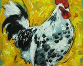 Rooster 776 12x12 inch animal portrait original oil painting by Roz