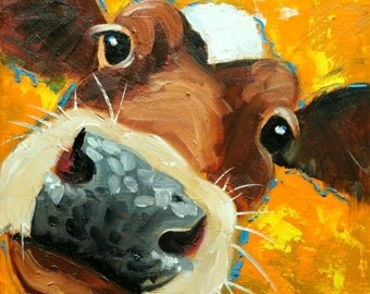 Cow painting 1138 12x12 inch original animal portrait oil painting by Roz