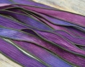 SUNSET BEACH Silk Ribbons Hand Dyed Sewn 5 Strings Purple Pink Blues Ties, Silk Wraps  for Jewelry