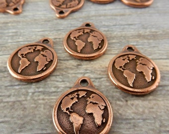 Earth Charms TierraCast Double Sided Drop Pendants, Antique Copper, Planet Earth with Continents, Earth Drop, Tierra Cast, Earth Day Charms,