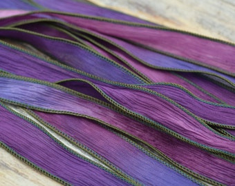 SUNSET BEACH Hand Dyed Silk Ribbons, Silk Strings, Handmade Crinkle Silk Ribbon, Qty 5 Purple Pink Blues Ties, Silk Wraps  for Jewelry