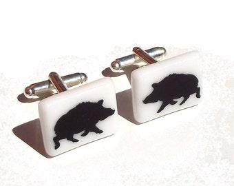 Wild Boar Cufflinks Glass Enamel Screenprint Custom Colours