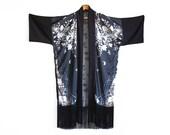 Black Fringe Kimono, Floral Robe, Kimono Jacket, Boho Clothing, Sheer Robe, Kimono Cardigan, Boho Wedding, Wedding Robe, Alternative Wedding