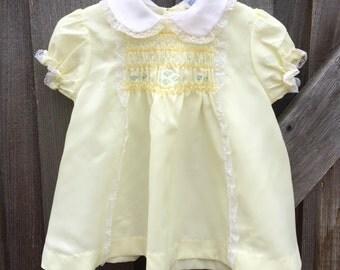 Yellow Smocked Dress 9/12 Months