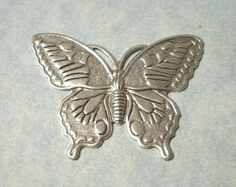 Oxidized Silver Butterfly Stamping, Brass Stamping, Top Drill for Necklace Pendant
