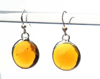 Glass Jewelry, Amber Glass, Artisic Earrings, Girlfriend Gift, Gift for Her, Gift for Mom, Gift for Women, Stained Glass Earrings