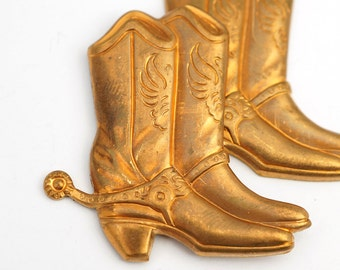 2 pcs brass cowboy boot stampings, vintage heavy struck 38mm