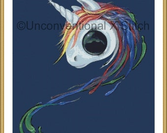 Look an Ugly One-horned Mule Rainbow unicorn cross stitch pattern - Licensed Sugar Fueled