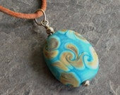 SALE!!!  30%OFF!!!  Lampwork Glass and Leather Necklace