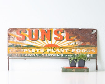 Vintage Sign, Sunset Plant Foods, Advertising Display