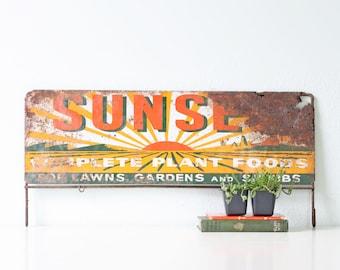 Vintage Sign, Sunset Plant Foods, Advertising Display