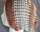 Adult Crocheted Slouch Hat for Man or Woman in Tan, cream and grey Beanie Slouch Hat for Man or Woman Unisex Slouch Hat