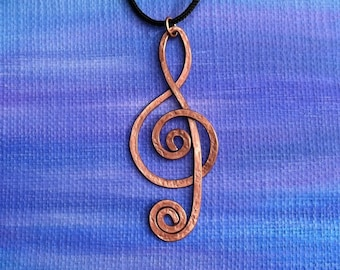 Large Treble Clef Pendant made of copper, hammered texture, perfect gift for music lover or music teacher